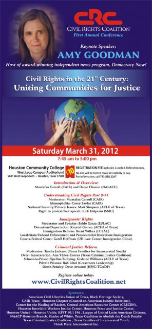 1st Annual Civil Rights Conference Saturday, March 31, Houston Community College West Loop