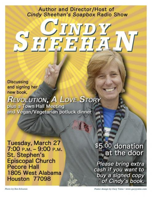 Cindy Sheehan in Houston Tuesday March 27