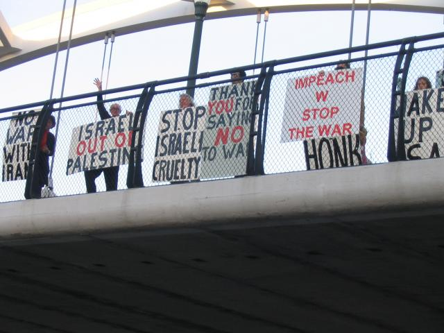 SW Freeway Blogging signs 1-6 Stop Israel aggression
